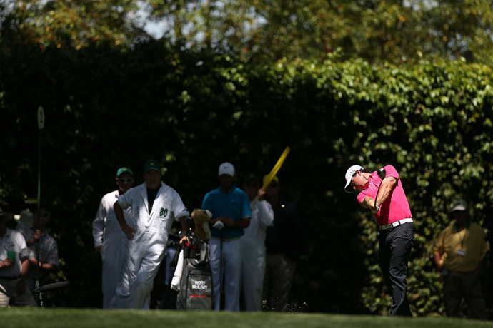 Rory McIlroy dropped out of contention after a seven-over 79.