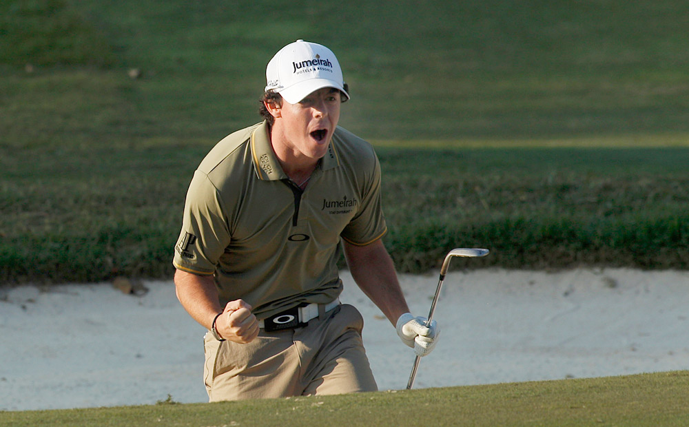 At the Hong Kong Open in December, Rory holed out from a greenside bunker for birdie on the final hole to win by one shot.