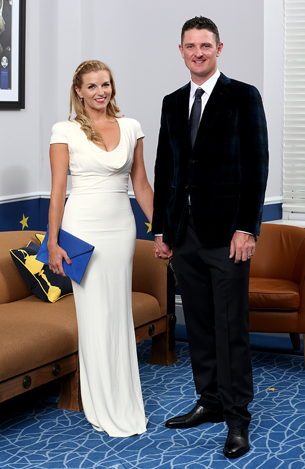 Justin Rose of Europe and his Kate Rose pose for a photograph at the Gleneagles Hotel before leaving for the Ryder Cup Team Gala Dinner on Sept. 24, 2014 in Auchterarder, Scotland.