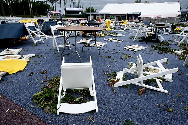"""""""The PGA of America is working to clean up all affected areas and is confident that when spectators arrive on Tuesday for the first full practice round,"""" said Kerry Haigh of the PGA of America."""