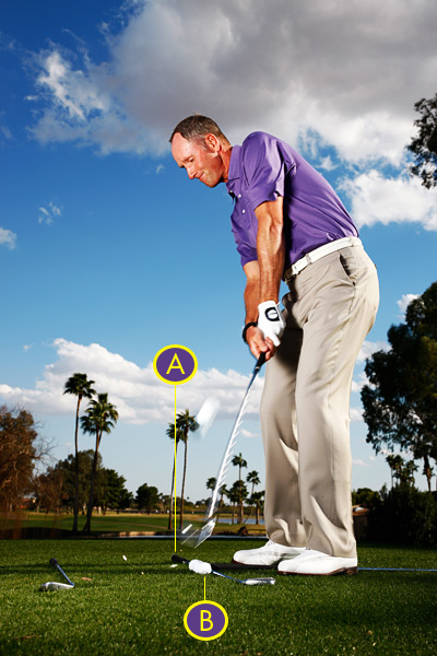 TO IMPROVE BODY AIM                                              Position your feet so that your toes point straight toward the inside shaft. Use the outside shaft to check that your shoulders are parallel to your toe line. Now you're correctly aligned parallel left of your target.                                                                     TO IMPROVE BALL POSITION                                              Place your practice ball opposite one of the four station balls. Use the right-most practice ball for wedge shots. Move to the next ball for your short irons, then the next for your long irons and woods. When teeing your driver, position your practice ball off the left-most station ball.