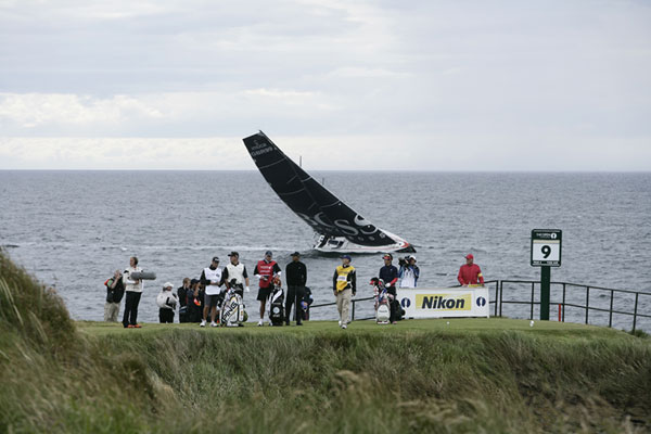 This sailboat braved the strong winds off the coast at Turnberry to get a glimpse of Tiger Woods.