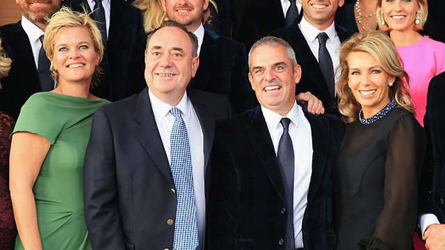 Europe team captain Paul McGinley (2ndR) and wife Allison (R) pose with Alex Salmond, First Minister of Scotland and Pernilla Bjorn (L), wife of Thomas Bjorn.