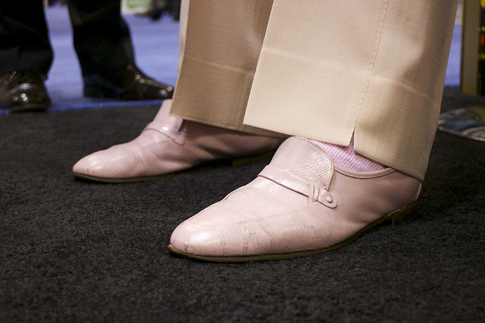 At one time, Doug Sanders owned 359 pairs of shoes. Here is a close-up of the pink kicks he wore Thursday.