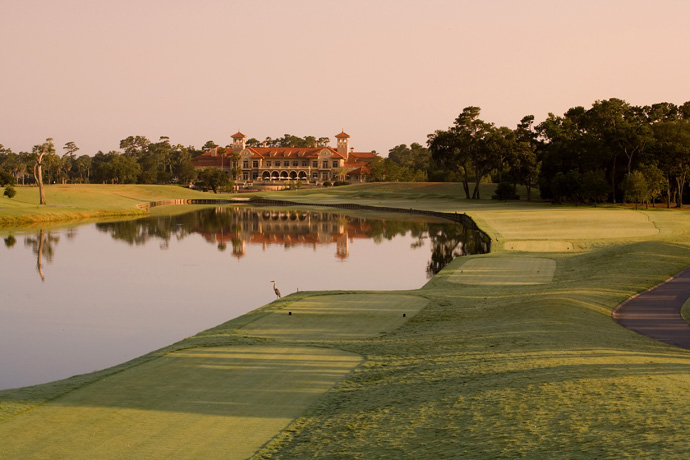 """TPC Sawgrass -- Par 4, 447 yards                       You've just made it past the game's most famous island, and already you're playing """"Survivor"""" again. Tug your tee shot even slightly, and you're in the water. Play it just a tad too safe, and you're stuck in tangled grass amid a mogul field of mounding, pine trees blocking your approach to the green."""
