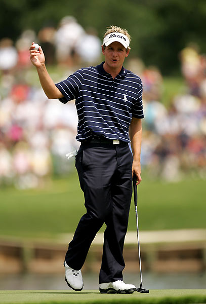 "Luke Donald                       ""I think I put it in the water                       once last year and made                       a bogey. I've done okay on the                       hole — I almost had a hole-in-one                       with a 9-iron to that front pin.                                              ""When I finished second to Fred                       Funk [in 2005], it was very                       windy on the last day and I hit it                       to the bottom tier and had to                       two-putt. That's a horrible two-putt                       to have to make from the                       front fringe to that back pin. It                       goes over the hill there and gets                       going fast. I got it to seven                       or eight feet and made it."""