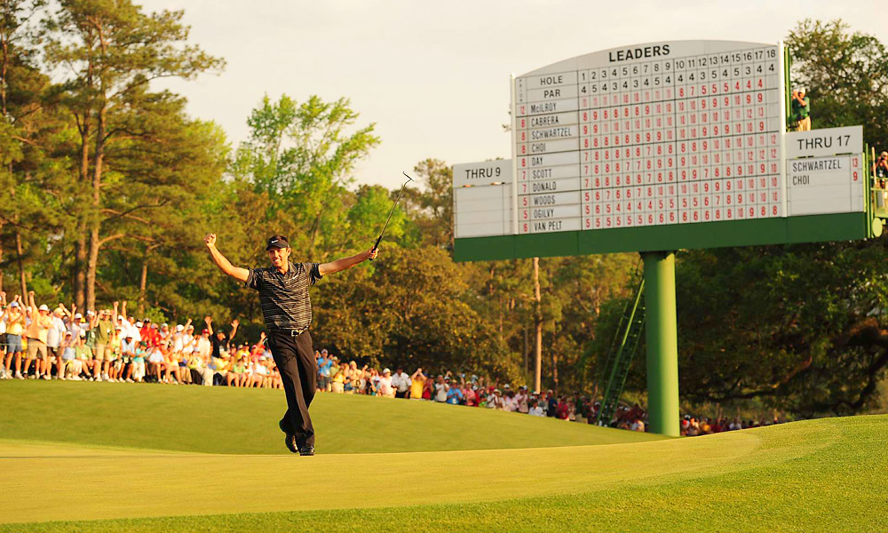 When Rory McIlroy's four-stroke lead evaporated Sunday on the front nine, the 2011 Masters became a free-for-all with Tiger Woods, Luke Donald, Adam Scott and Jason Day racing for the green jacket. Charl Schwartzel beat them all when he closed with four straight birdies, an accomplishment unmatched in Masters history.