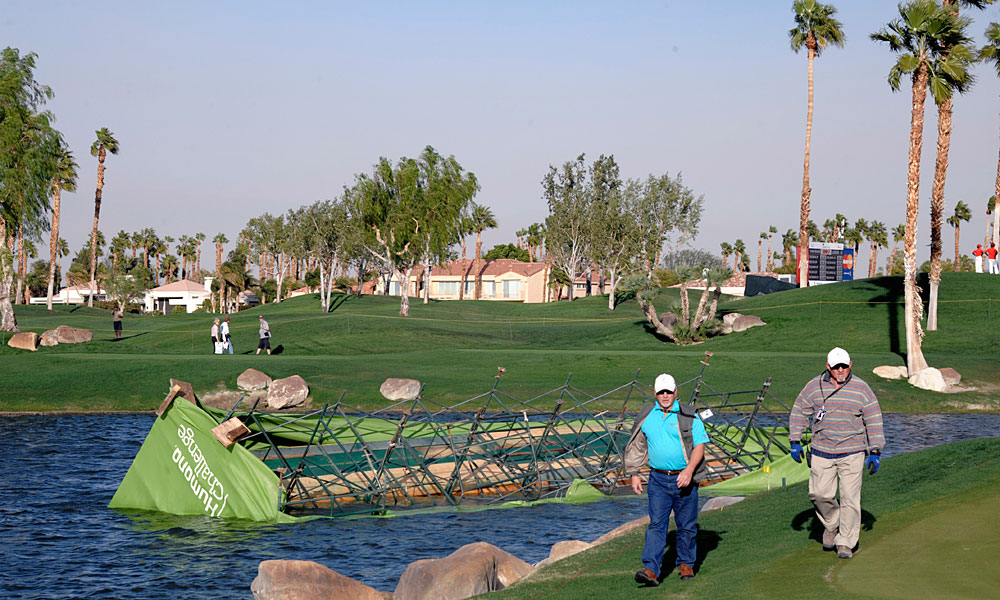 How strong were the winds? The scoreboard by the 18th hole at the Palmer Private Course at PGA West fell into the water.