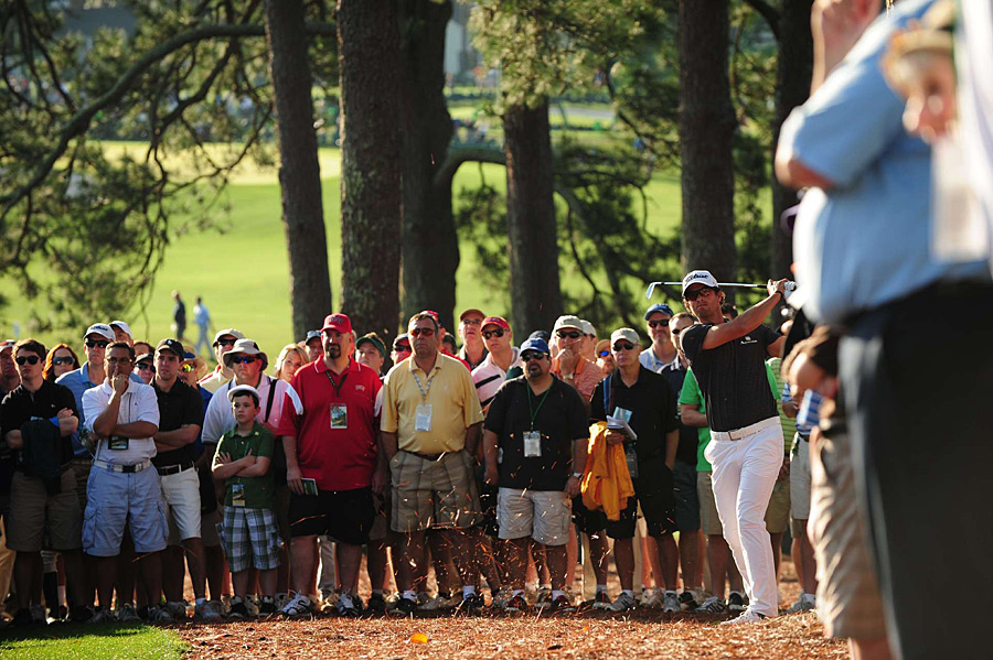Adam Scott made five bogeys and an eagle on the front nine, and then nine pars on the back for a three-over 75.