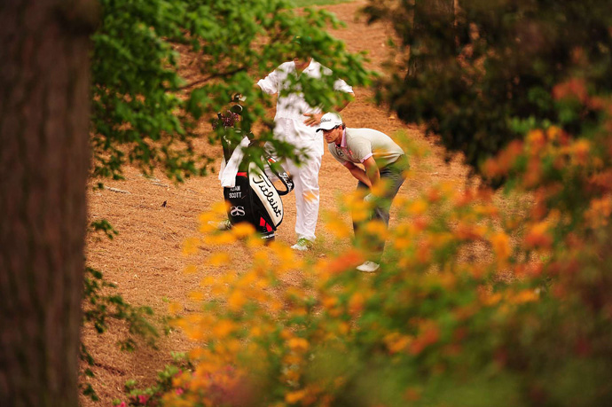 Adam Scott was in trouble early, but he birdied 18 to finish at three under par.