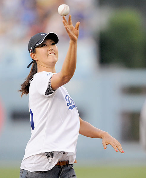 Michelle Wie: BaseballMichelle Wie threw out the first pitch at a Dodgers game in 2009. Outside of golf, Wie is not much of a jock — where's the glove? — and her interests tend more toward art and fashion. However, she did date Phoenix Suns center Robin Lopez while they were both at Stanford.