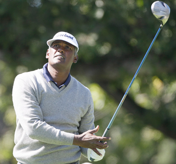 Vijay Singh made four-straight bogeys on the front nine, finishing with a score of 76.