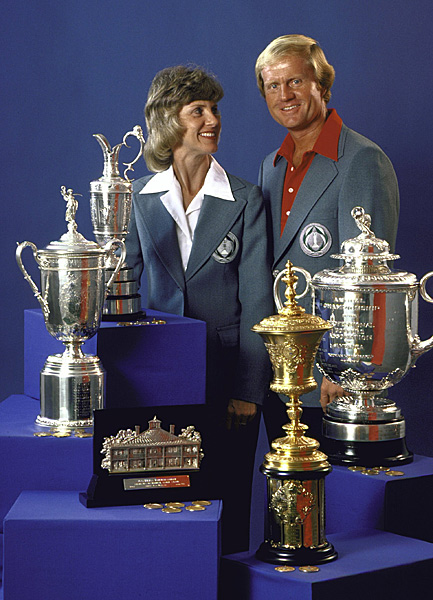 "Jack and Barbara Nicklaus                                          Jack and Barbara Nicklaus celebrated their 50th wedding anniversary in the summer of 2010, so Barbara has been with Jack for all 18 majors, all 73 PGA Tour wins and all six Ryder Cups as a player. Jack always says that marrying Barbara, whom he met when they were both freshmen at Ohio State, was his greatest achievement. How important was Barbara to Jack's career? Lee Trevino called Barbara ""the Rock of Gibraltar,"" while Deane Beman called her ""the 15th club.""                                          ""If your partner in life is also your best friend, it's truly invaluable,"" Jack wrote in his autobiography. ""I shudder to think about where I would be today, what I might have missed, how less fulfilling my life would have been were Barbara not with me every step of the way."""