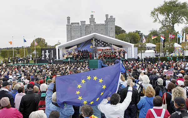 A large crowd gathered at Killeen Castle on Thursday to witness the opening ceremony for the 2011 Solheim Cup.