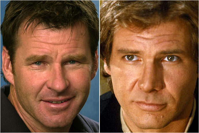 Nick Faldo and Harrison Ford