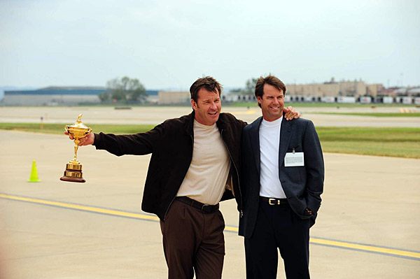 Faldo tried to keep the trophy away from U.S. captain Paul Azinger.