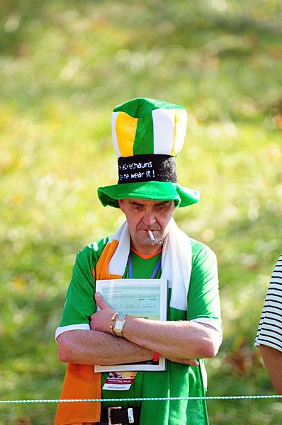 A fan of the European team waited for his team.