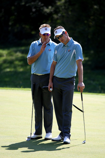 Ian Poulter and Justin Rose worked together during their practice round.