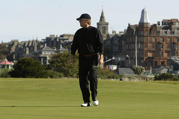For anyone who has played at St. Andrews, the backdrop of the Royal & Ancient has a way of making you feel as small as the Softspikes on your shoes. Even those with multiple Oscar nods or Super Bowl rings have been known to drop all airs. Here, former Vice President Dan Quayle strides off the 17th green.