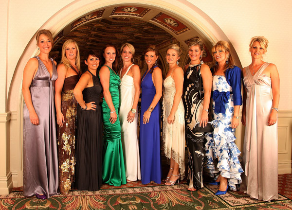 From left to right: Anne Haghfelt, Caroline Harrington, Laurea Westwood, Jocelyn Hefner, Valerie Faldo, Kate Rose, Lauren Smith, Ebba Karlsson, Monteserrat Bravo Ramirez and Emma Stenson, the wives and partners of the European Ryder Cup team.