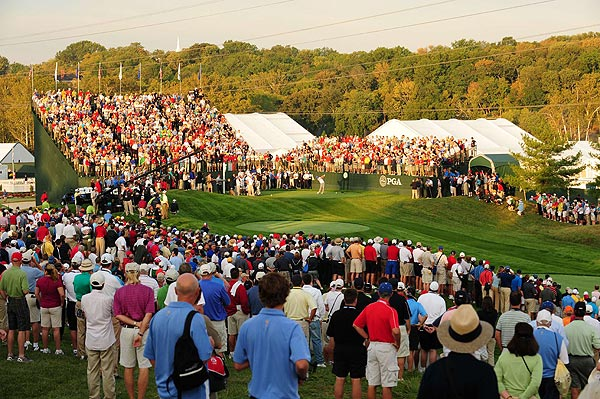 Fans packed the first tee Friday morning for the start of the 37th Ryder Cup.