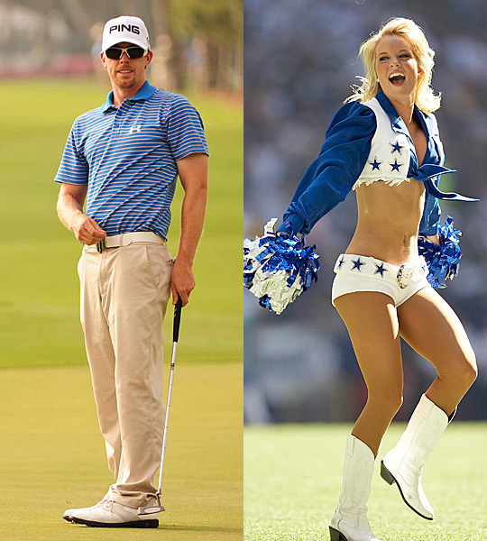 Hunter Mahan and Kandi Harris                                              Hunter Mahan and his wife, former Dallas Cowboys cheerleader Kandi Harris, aren't just a power couple because of their celebrity. Kandi really helps Hunter win golf tournaments. Sports Illustrated's Gary Van Sickle explained Kandi's role in Hunter's win at the Waste Management Open in Phoenix in 2010.