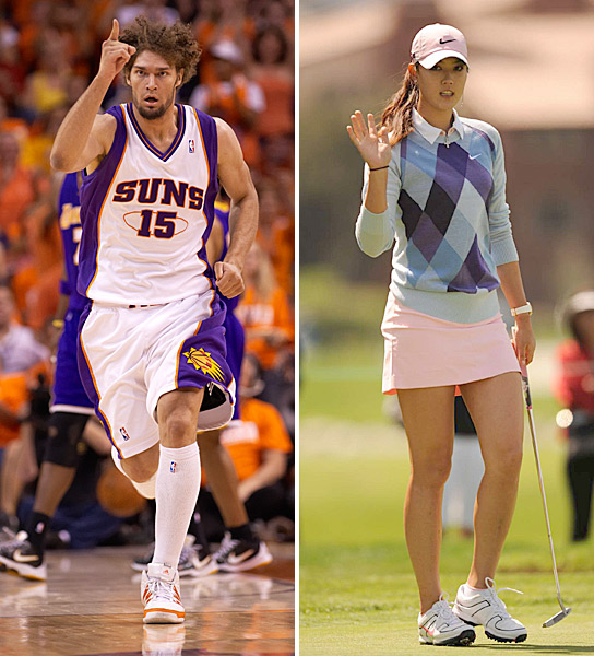 "Michelle Wie and Robin Lopez                                          Another Power Couple that couldn't stand the test of time, Michelle and the 7-foot-1 Phoenix Suns center dated while they were both at Stanford in 2008, according to SI. Michelle denied the two were an item in an April 2009 Korean Vogue magazine article, but she did confirm that she likes tall guys:                                          ""My height is 183 centimeters [6 feet], so he must be taller than that. A guy that is self-confident, self-aware, and fun... the basketball player that I was [linked to] at Stanford, Robin Lopez, is just a friend."""