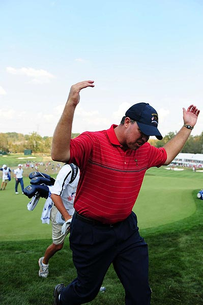 This was a familiar pose for Boo Weekley, who rallied the crowd during each of his matches.