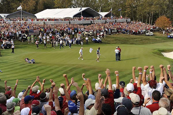 Sunday Singles Matches                       The United States secured the Ryder Cup as Jim Furyk defeated Miguel Angel Jiminez, 2 & 1, on the 17th hole.