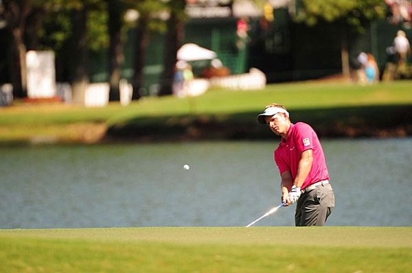 Luke Donald shot an even-par 70, but he remains in the hunt for the title and the FedEx Cup.