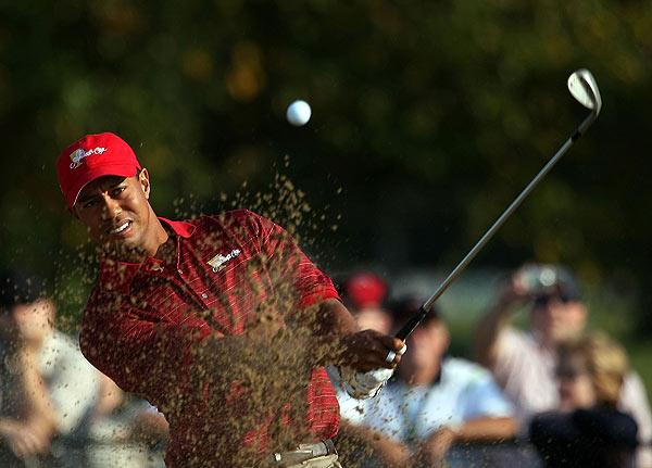"""I think Tiger is an intimidating player. I'm not sure that -- the intimidation doesn't even go to his partners. I think that most of them feel far more comfortable,"" Jack Nicklaus said of Tiger Woods. ""Last night, 11 players other than Tiger all probably put Tiger down as one they would like to play with. I said, 'Duh,' I would think I would want to play with him, too."""