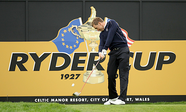 Several players were on the course Monday at Celtic Manor preparing for the 2010 Ryder Cup, including European team member Ian Poulter.