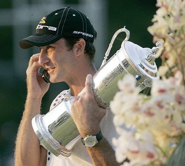 Geoff Ogilvy was on his phone shortly after his surprise win at the 2006 U.S. Open.