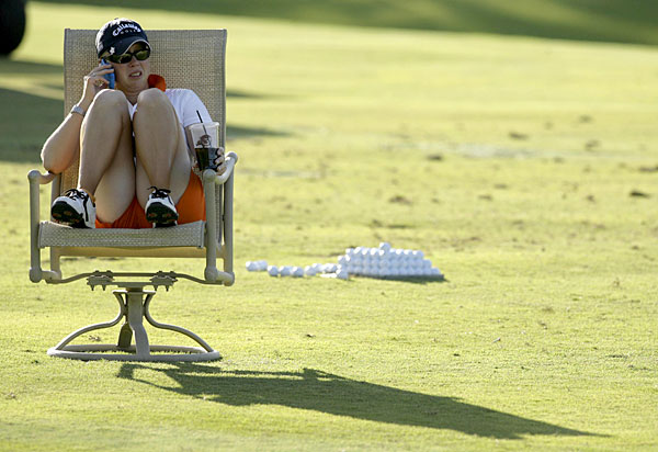 Morgan Pressel relaxed after her round at the 2007 Samsung World Championship.