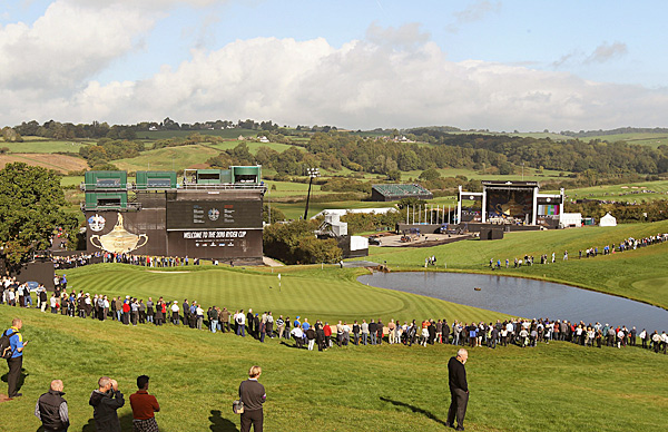 The 18th green on Tuesday at Celtic Manor's brand new Twenty Ten course.