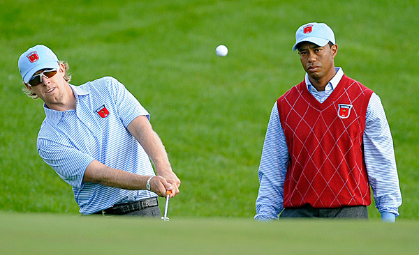 Woods also played with 2008 Ryder Cup veteran Hunter Mahan on Tuesday.