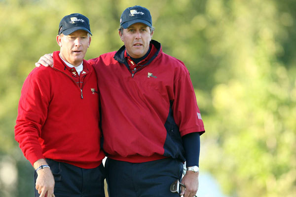 Austin and Phil Mickelson beat Retief Goosen and Stuart Appleby 5 and 4.
