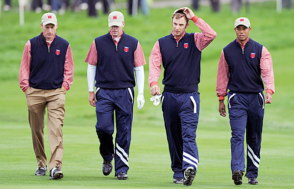 From left: Jim Furyk, Steve Stricker, Dustin Johnson and Tiger Woods.