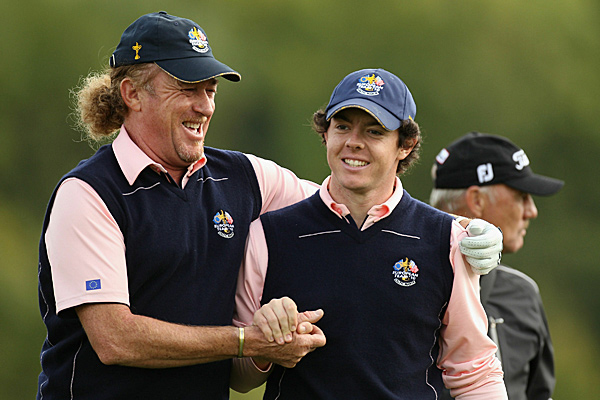 Jimenez, 46, is the oldest player on Team Europe, while Rory McIlroy (right) is the youngest at 21.