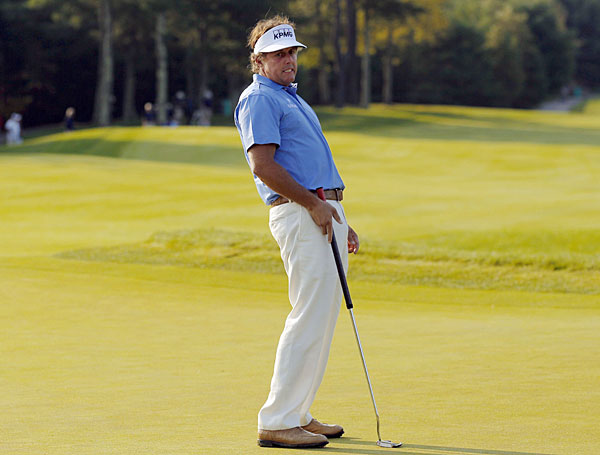 Phil Mickelson shot a two-over 73 and made the cut on the number.