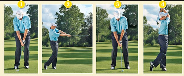 DRILL: HOW AND WHEN TO HIT HIGH AND LOW WEDGE SHOTS                                      Try to determine what the goal of your shot is and how the ball will react once it reaches the green. If you're playing to a back pin on a firm green, hit it low by using setup 1 and follow-through 2. To hit it high and soft, copy setup and follow-through 3 and 4.