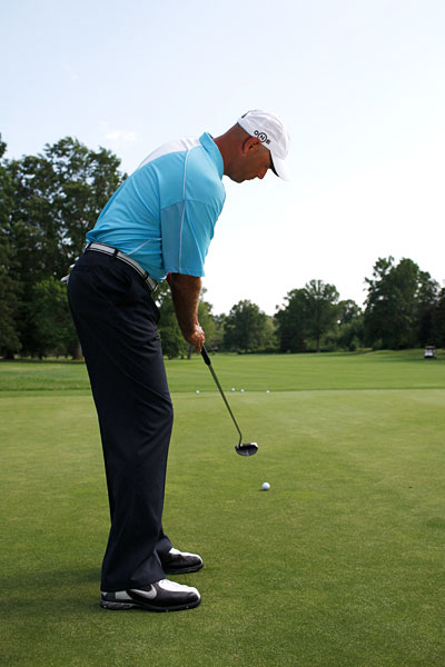 "DRILL: PUTT BY FEEL                                              If you want to be a more natural putter, try this drill to improve your feel. Just drop a few balls and putt to the fringe of the green, trying to stop the ball exactly on the line where the putting green ends and the apron begins. When you putt without worrying about the hole it helps you develop a sense of speed and increases your sensory awareness. When Tiger Woods drains a long putt, he doesn't think, ""Phew, if that didn't go in it would have ended up 10 feet past the hole."" Neither should you."