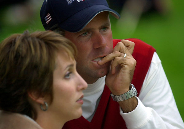 "STEWART CINK                       ""My first Ryder Cup in 2002, we qualified and formed the teams in 2001, but                       9/11 moved it back a year. So I had like 13 months to wait. Then I sat out the                       first session, so I had 13 months plus a morning session to wait.                                               I was paired with Jim                       Furyk and he said, 'What holes do you want to go [first] on?' I said, 'I don't really want                       to go on the first one. I've waited this long, I think I can wait to hit the second shot.'                       When he said he'd take the odd holes I was like, 'OK! That's fine with me.'                                               He hit a good                       drive down there, first cut, which was the perfect place for me because it was teed up                       nice. It was an 8-iron, a simple shot. I remember taking my club out of the bag,                       putting my glove on,                       standing behind the ball                       and literally thinking,                       'What's my pre-shot                       routine again?' You're so                       nervous you just don't want                       to mess up.                                               I hit a good shot.                       It went directly at the flag                       but about 30 feet too far.                       The other team made par,                       and Jim ran the putt like                       four feet by, and then I had                       to make that! And I made it                       and was immediately kind                       of calm, like, 'OK, I've done                       this before. It's not the first                       time I've ever                       played golf.'"""