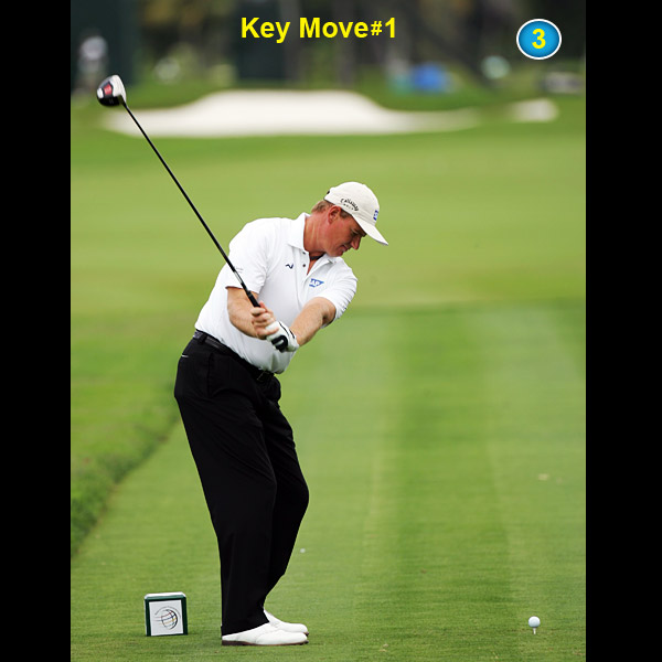 Leverage alert! Ernie's clubhead is already above his cap when his hands reach belly height. Also notice how his left knee and hip are working away from the target.