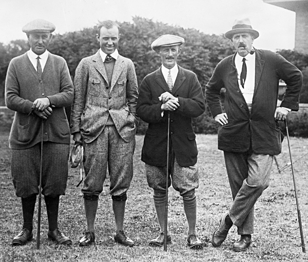 "1920s                                          Golf gains mass popularity, but remains a gentleman's sport. Affluent players, determined to distinguish themselves from their more plebeian counterparts, pay serious attention to their apparel. The well-dressed golfer typically wore plus fours (that is, knickers cut about four inches longer than usual), golf hose with a pattern, two-tone ""spectator"" shoes, shirt and tie. A knitted cardigan was often worn on brisk days, and in sharp weather a Norfolk jacket, with vertical box pleats, was added."