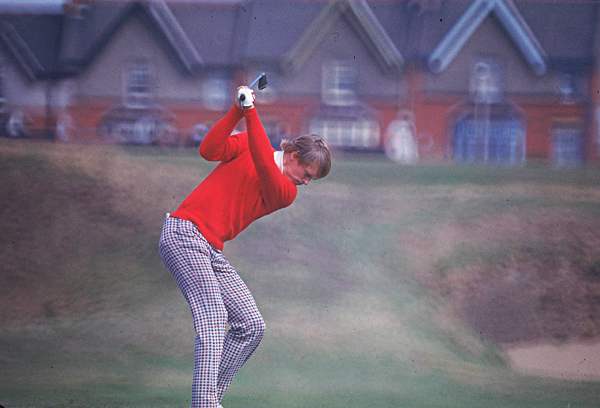 1970s                                              The nadir of golf style, and perhaps all American fashion. Golfers wore trousers — purple, magenta, and kelly green — that could only be worn on a golf course, and paired the likes of brown polyester with orange nylon. As in the office, men wore turtlenecks and mock turtlenecks on the course. The hound's-tooth pattern became a staple of '70s golfwear, on both pants and shirts. The emergence of golf on TV increased the style influence of pros such as Jack Nicklaus and Johnny Miller.