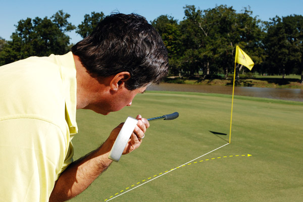 How to Stop Low-Side Misses                      On left-to-right breakers, stay true to your start line                     By Bryan Gathright                     Top 100 Teacher                                                               This story is for you if...                                          • You always misread left-to-right putts.                                          • These putts make you nervous, so you decelerate through them.                                          The Problem                     On left-to-right breaking putts you always miss below the hole.                                          Why It's Happening                     When you take your address position on a left-to-right breaker, your body is open to the hole. That makes it easy to fixate on the hole instead of your real target: the apex of the break. And since your stroke tends to follow your eyes, looking at the hole causes you to start the ball well below the correct line.                                          The Solution                     As you give the putt one last look from your stance, stare down your starting line and focus on a spot on the line equidistant to the cup (not the cup itself). Feel like you're cocking your head to the right and setting your eyes parallel to the start line (check it with a shaft as shown during practice). This increases the chances that you'll start the ball on the correct line and allow for enough break so you don't miss below the hole.                                                               If your last look is at the hole, you'll start the ball well below the correct line and you'll miss on the low side.