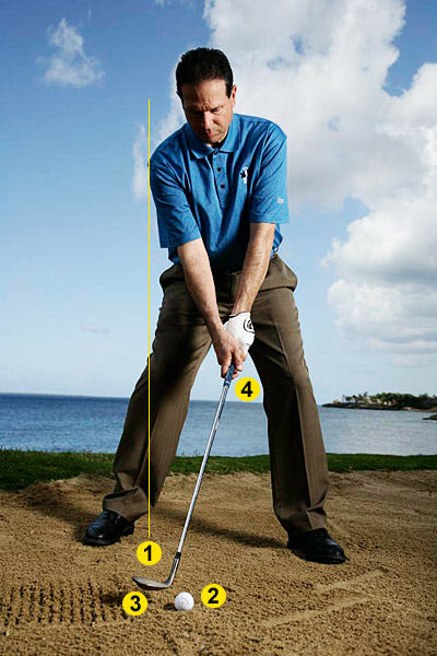 HOW TO BEAT WET SAND                                          On a specialty shot like this, the secret to pulling it off is in your setup. Copy the positions at right, and then follow the swing cues above.                                          1. Take a wider stance so that the insides of your heels are in line with the outsides of your shoulders.                                          2. Set the ball in the center of your stance, and then open your stance so that your hips and shoulders point at least 30 degrees left of your target.                                          3. Rotate the club to the right so that the face is wide open.                                          4. Lean the shaft forward and visualize that same lean later at impact to promote a downward blow.                                                                                    BACKSWING                     You don't want to start off fast and long and then slow down. That leads to deceleration. Make a shorter backswing, stopping your hands between halfway to three-quarters back.                                          DOWNSWING                     Smoothly speed up so that the fastest part of your swing occurs as your club is digging through the sand. Use your body — turn your chest and hips toward the target as you power your wedge through impact.