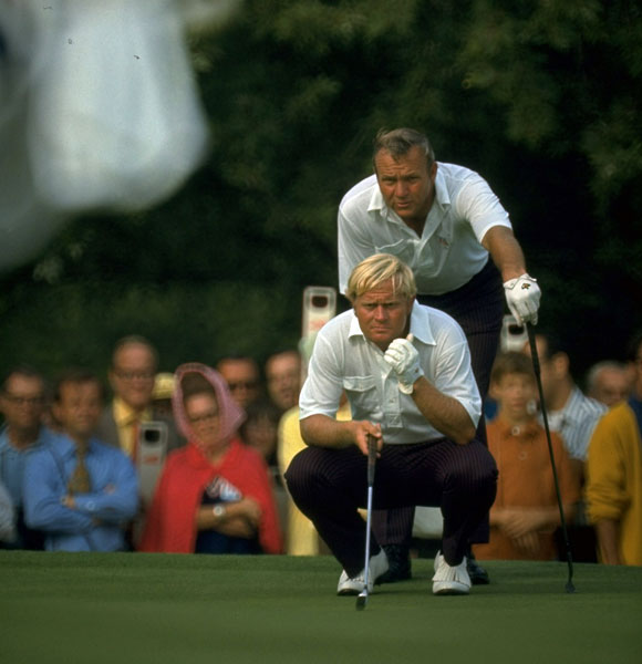 "Arnold Palmer and Jack Nicklaus                                              Ben Hogan never called Arnie by his first name. It was always ""Palmer"" or ""Boy."" Hogan was the king of the stare-down, but Arnie refused to be                       intimidated. He was one tough SOB.                                               As for Jack? Because he's Jack friggin' Nicklaus. Moving on..."