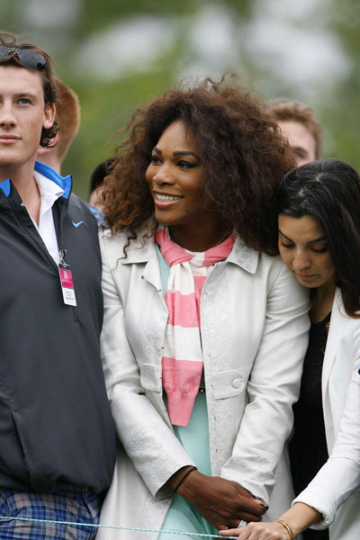 Serena Williams was out watching Woods on Friday.